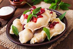 Delicious dumplings with cherries