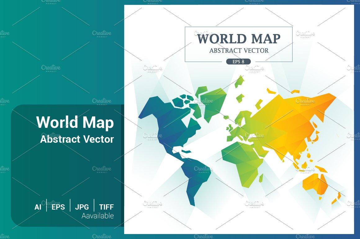 World map abstract full color vector illustrations creative market publicscrutiny Choice Image