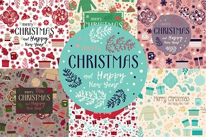 Set of Christmas cards and patterns