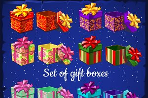 Gifts boxes on a blue background
