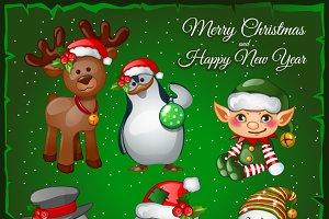 Snowman, Santa and team