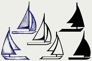 Ship and sailboat sailing SVG