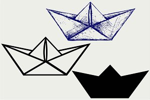 Origami paper ship SVG