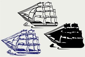 Wooden tall ship SVG