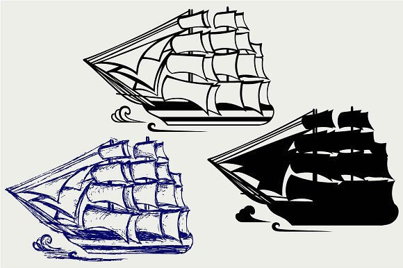Wooden Tall Ship SVG DXF