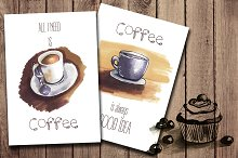 2 inspiration cards. coffee sketch