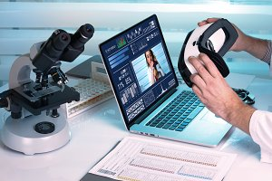 doctor and virtual reality equipment