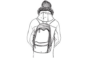 Man in jacket with backpack