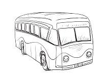 Hand drawn cartoon bus