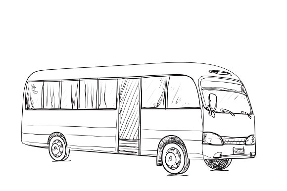 Transport for travel. Bus sketch ~ Illustrations