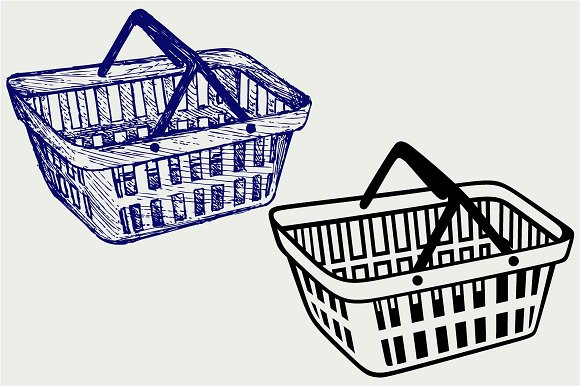 Shopping Plastic Basket SVG DXF