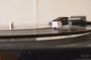 Vinyl record spinning