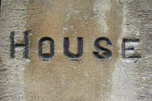 House label on wall