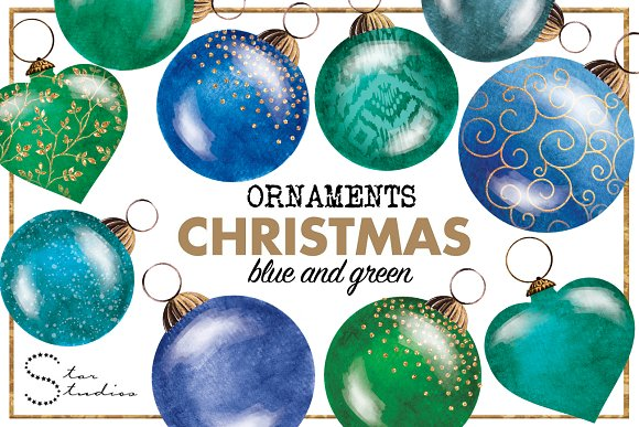 blue green christmas ornaments illustrations - Teal Christmas Ornaments