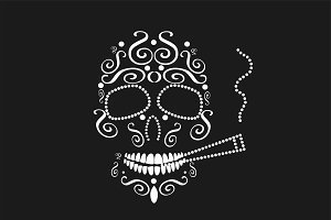 Skull icon with cigarette white