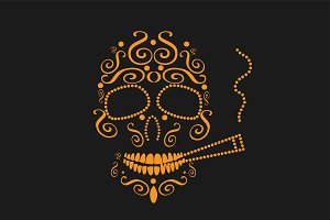 Skull icon with cigarette orange