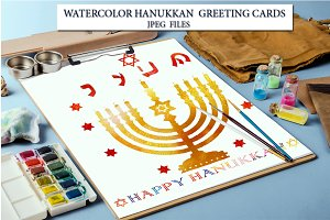 Watercolor Hanukkah Greeting Cards