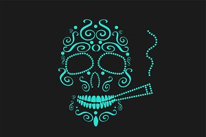 Skull icon with cigarette neon color