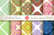 10 Floral Seamless Square Patterns