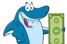 Happy Shark Holding A Dollar Bill