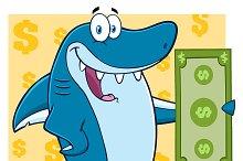 Blue Shark Holding A Dollar Bill