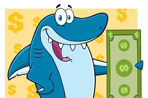 Blue Shark Holding A Dollar Bill