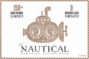 Nautical romantic vector pack