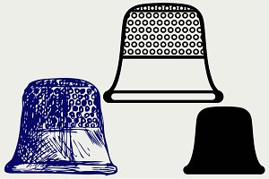 Silver thimble for sewing SVG
