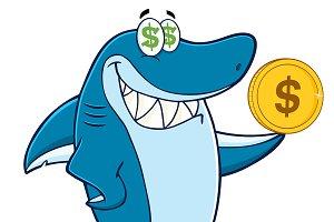 Greedy Shark Mascot Character
