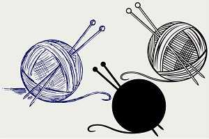 Yarn balls with needles SVG