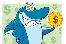 Shark Holding A Golden Dollar Coin