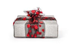 Christmas gift box isolated on white