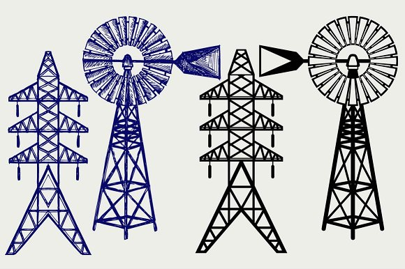 Windmill And Electric Pole SVG DXF