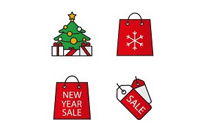 Christmas shopping. 4 icons. Vector