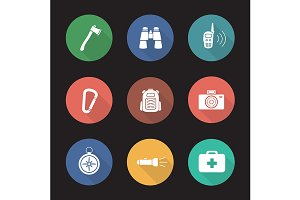 Camping equipment. 9 icons. Vector
