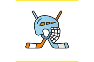 Hockey game equipment icon. Vector