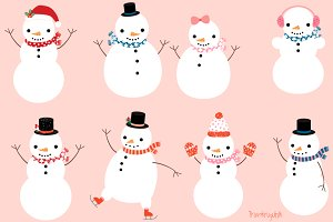 Cute snowman characters clipart