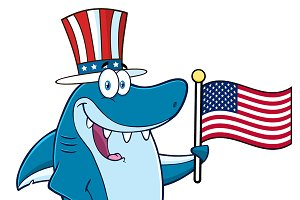 Blue Shark Holding An American Flag