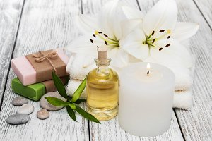 Spa products with white lily