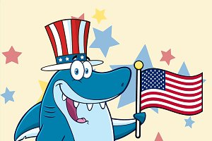 Happy Blue Shark With Patriotic Hat