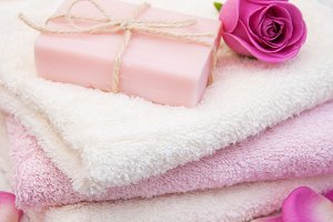 Bath towels and soap