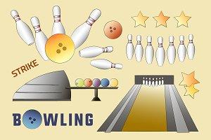 Bowling icons set