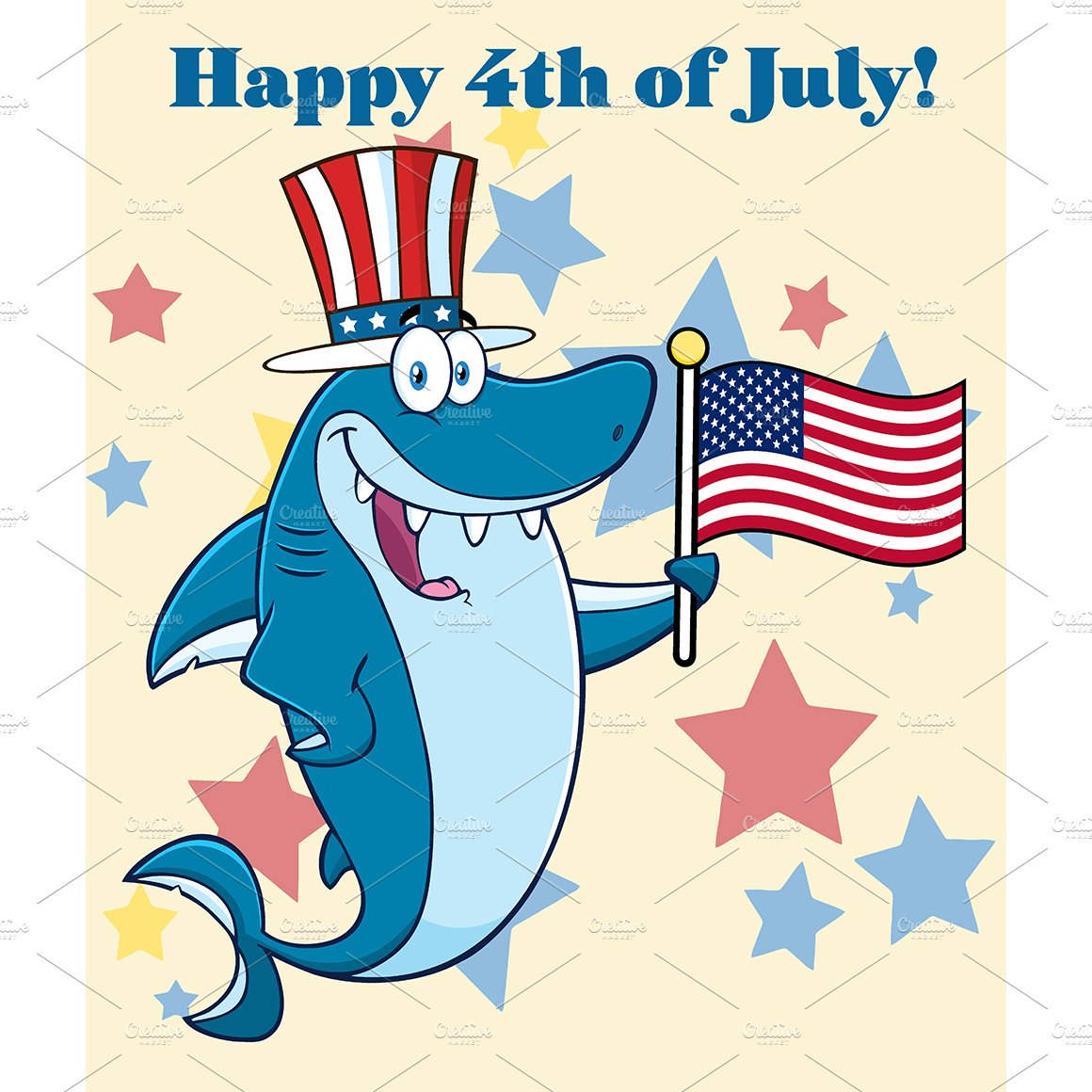 Shark Holding An American Flag ~ Illustrations ~ Creative Market 363327f1a7fb