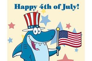 Shark Holding An American Flag