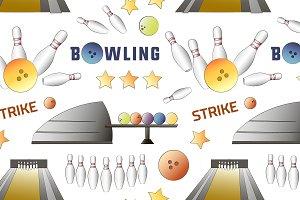 Bowling icons set pattern