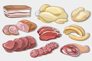 Different kinds of meat collection