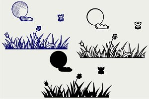 Grass and flower SVG