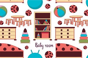 Interior of baby room pattern
