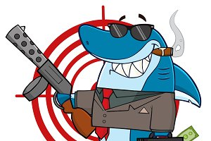 Shark Mobster Mascot Character