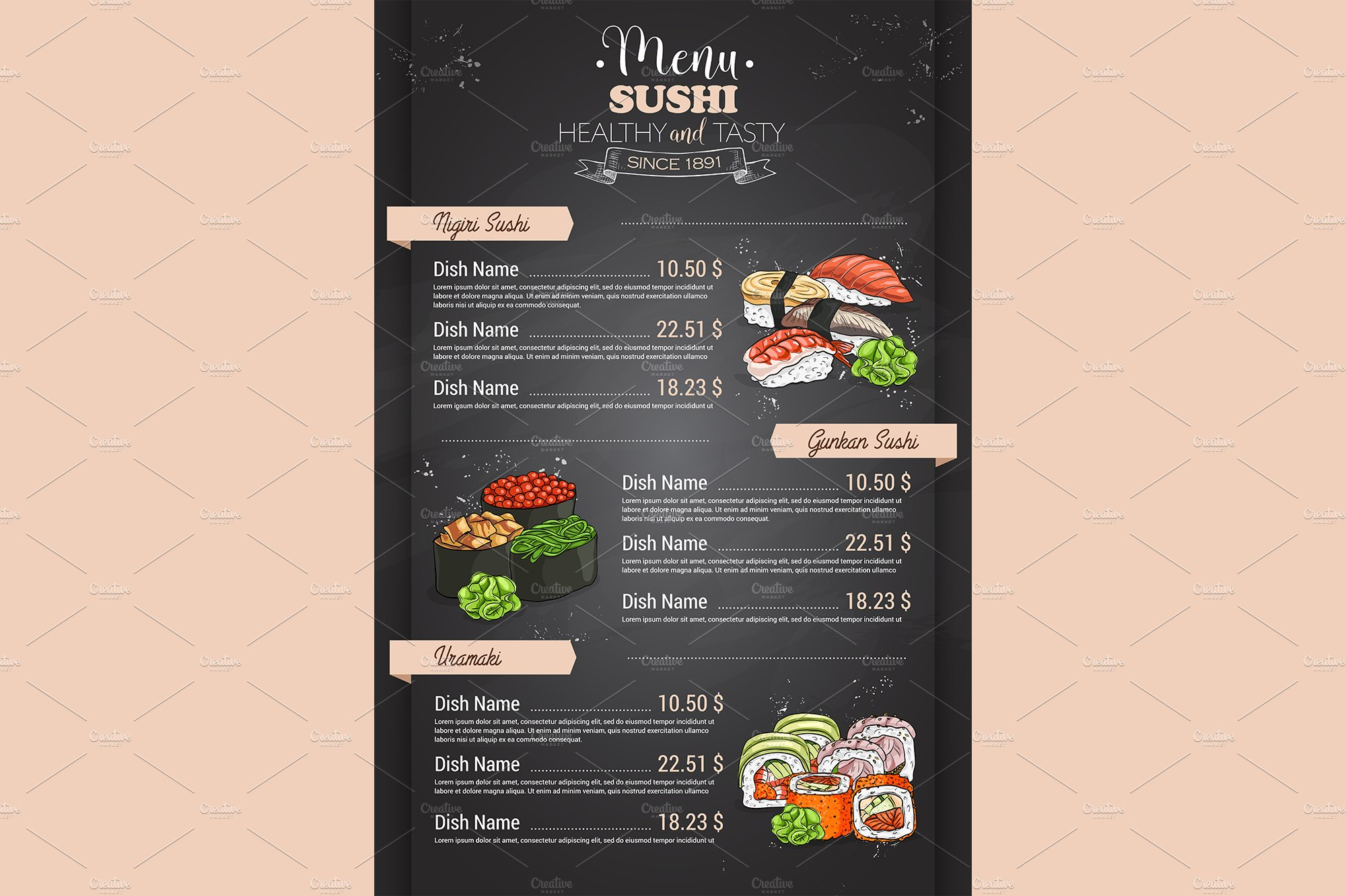 Restaurant vertical color sushi menu illustrations for Akina japanese cuisine menu